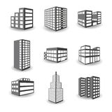Set of vector isometric building icons  on white background Royalty Free Stock Images