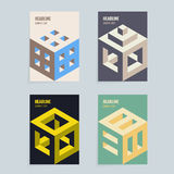Set of vector isometric covers design. Set of A4 vector isometric cover design template for booklet, brochure or book vector illustration