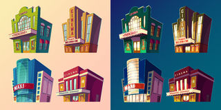 Set of vector isometric illustration of buildings cinema in cartoon style Stock Photo