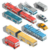 Set of vector isometric illustrations of municipal city transport. Buses, trolley bus, tram, taxi, shuttle taxi Royalty Free Stock Photos