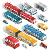 Set of vector isometric illustrations of municipal city transport Royalty Free Stock Photography