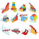 Set of vector isometric infographic graphics, diagrams, histograms, arrows of various types. Set of vector isometric illustrations, infographic icons - graphics Stock Photos