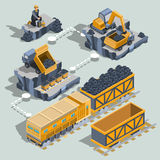 Set of vector isometric isolated elements of the coal mining industry. Set of vector isometric isolated elements, icons of the coal mining industry miner Stock Photo