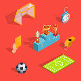 Set of vector isometric soccer icons Royalty Free Stock Photography