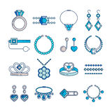Set of vector jewelry line icons. Diamond luxury collection in blue color isolated on white. Ring necklace earrings Stock Photography