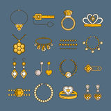 Set of vector jewelry line icons. Diamond luxury collection in golden colors isolated. Ring necklace earrings chain Stock Image
