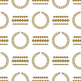 Set of vector jewelry line seamless pattern. Diamond luxury colorful collection. Chain and bracelet silhouettes. Gold Stock Photo
