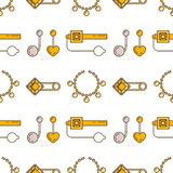 Set of vector jewelry line seamless pattern. Diamond luxury colorful collection. Fashion gemstone silhouettes.  Stock Photography