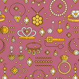 Set of vector jewelry line seamless pattern. Diamond luxury colorful collection. Ring necklace earrings chain diadem Stock Photography