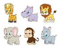 Set of vector jungle cartoon animals Royalty Free Stock Photography