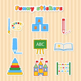 Set of vector kids education stickers. Collection of sticker for lesson brush, paint, pencil, pen, blackboard, album, pyramid, cubes and scores. Funy vector Stock Photo