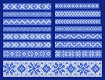 Set of vector knitted ornamental lines Royalty Free Stock Image
