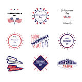 Set of vector label Independence day Stock Photography