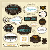 Collection of retro calligraphic labels best, original and genui royalty free illustration