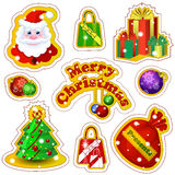 Set of vector labels for Christmas in a cartoon style. Santa Claus, gift boxes, bags with bows, decorated Christmas tree, balls wi Stock Photos