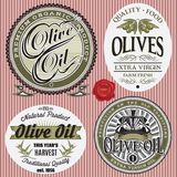Set of vector labels for olive oil. Set of vector labels for olives oil Royalty Free Stock Image