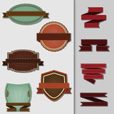 Set of vector labels and ribbons. Stock Images