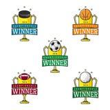 Set of vector labels of sport winner Stock Photo