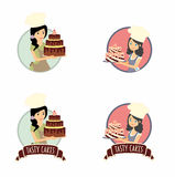 Set of vector labels, stickers or badges design concepts with female characters. Woman baker holding a delicious cake Stock Image