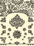 Set of vector lace elements 2. Set of vector lace elements to create your backgrounds, invitations, greeting cards. All vector elements you can edit Stock Photo