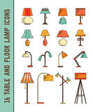 Set of vector lamp icons Stock Photos