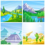 Set of vector landscape illustrations. Mountains, green hills and meadows, desert and volcanoes view stock illustration