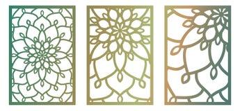 Set of Vector Laser cut panels. Abstract Pattern template for de. Set of Vector Laser cut panels. Pattern template for decorative panel. Wall vinyl art decor Stock Image