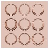 Set of vector laurel wreaths Royalty Free Stock Images