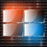 Set of Vector LCD screens. Set of Vector LCD, 4K Plasma screens on the futuristic wall and with light effects Royalty Free Stock Images
