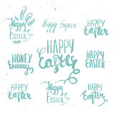 Set of vector lettering elements of happy easter on white background. Perfect for greeting card or elegant party Royalty Free Stock Photo