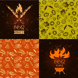 Set of vector lettering hand drawn logo with fire for barbecue. Party. Illustration with sparks of fire for grill time party.  Print restaurant menu, posters Stock Photography