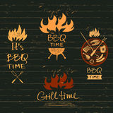 Set vector lettering hand drawn logos with fire for barbecue  Royalty Free Stock Photos