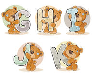Set vector letters of the English alphabet with funny teddy bear Stock Images