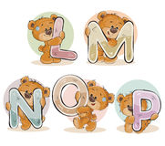 Set vector letters of the English alphabet with funny teddy bear Stock Photo