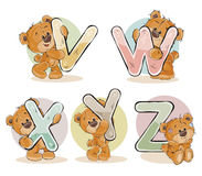 Set vector letters of the English alphabet with funny teddy bear Royalty Free Stock Photos