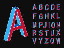Set of vector letters of the isometric view. Isometric letters. Memphis style letters. Colored isometric 3d font. Style of the 80s. Set of vector letters Royalty Free Stock Photos