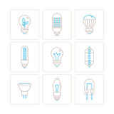 Set of vector light bulb icons and concepts in mono thin line style Stock Photo