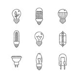 Set of vector light bulb icons and concepts in sketch style Stock Image