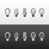 Set of Vector Light Bulbs Icons Stock Photo