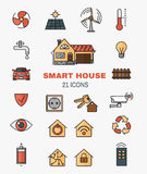 Set vector line art icons of the smart home, controlling through internet home work equipment. Stock Photo
