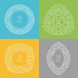 Set of vector line art style round, square, triangle, oval frame Stock Images
