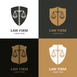 Set of vector line art vintage law firm logo template. Royalty Free Stock Photos