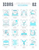 Set Vector Line Flat Icons of Accounting. Collection vector flat icons with thin line elements. Set of clean design, outline signs and symbols of accounting and Royalty Free Stock Photo