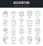Set Vector Line Icons of Accounting. Set of outline signs and symbols of accounting. Collection  thin line icons and infographics elements. Simple linear Royalty Free Stock Photos