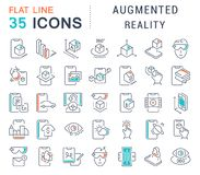 Set Vector Line Icons of Augmented Reality. vector illustration