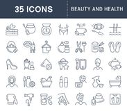 Set Vector Line Icons of Beauty and Health. Set of vector line icons, sign and symbols of beauty and health for modern concepts, web and apps. Collection of Royalty Free Stock Photography