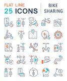 Set Vector Line Icons of Bike Sharing. vector illustration