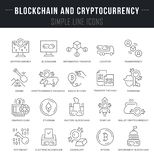 Set Vector Line Icons of Blockchain and Cryptocurrency. royalty free illustration