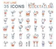 Set Vector Line Icons of Cocktails. stock illustration