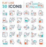 Set Vector Line Icons of Dairy Products. Set of  line icons, sign and symbols with flat elements of dairy products for modern concepts, web and apps. Collection Royalty Free Stock Photos